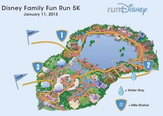 RunDisney 2013 Family Fun Run 5K Course Map