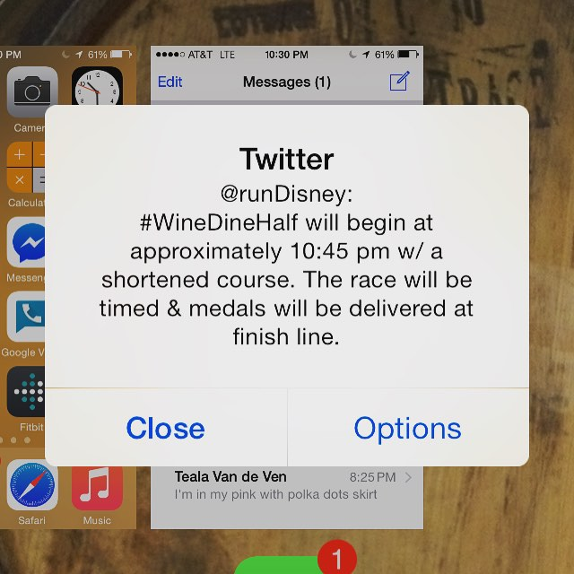 Wine & Dine Half Marathon – Wine & Dine 2015 Runners notified via Twitter of shortened race